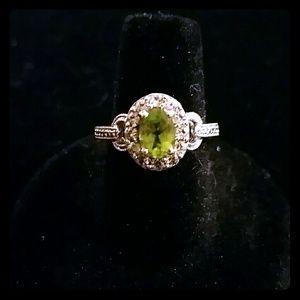 Sterling & genuine peridot diamond ring